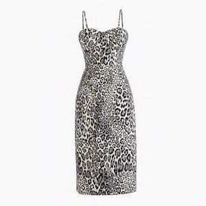 J Crew Strapless Metallic Leopard Spot Party Dress